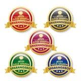 Προσφορά 5 έκπτωσης χρυσά κουμπιά Στοκ εικόνα με δικαίωμα ελεύθερης χρήσης