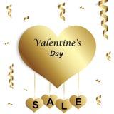 Προσφορά πώλησης ημέρας βαλεντίνων ` s, πρότυπο εμβλημάτων Ετικέττες πώλησης καρδιών βαλεντίνων Σχέδιο αφισών αγοράς καταστημάτων Στοκ Εικόνα