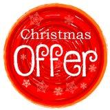 Προσφορά Χριστουγέννων στο κυκλικό συρμένο κόκκινο έμβλημα με snowflakes Στοκ εικόνες με δικαίωμα ελεύθερης χρήσης