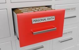 Προσωπική έννοια προστασίας δεδομένων Σύνολο γραφείου των αρχείων και των φακέλλων απεικόνιση που δίνεται τρισδιάστατη Στοκ εικόνα με δικαίωμα ελεύθερης χρήσης