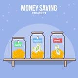 Προσωπική οικονομική διαχείριση Αποταμίευση χρημάτων, διαχείριση χρημάτων Σχέδιο χρημάτων Στοκ Εικόνες