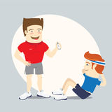 Προσωπικός εκπαιδευτής ικανότητας και αστείος αθλητικός τύπος που κάνουν τα ABS workout Στοκ Εικόνες