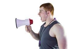 0 προσωπικός εκπαιδευτής που φωνάζει μέσω megaphone Στοκ εικόνα με δικαίωμα ελεύθερης χρήσης