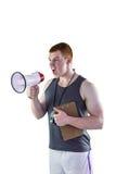 0 προσωπικός εκπαιδευτής που φωνάζει μέσω megaphone Στοκ Εικόνες