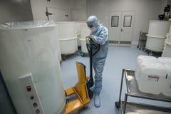 Προσωπικό που εργάζεται στην καθαρή περιοχή στην περιοχή παραγωγής της επιχείρησης βιοτεχνολογίας Στοκ Εικόνα