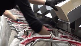 Προσωπικό που εργάζεται στις αυτοματοποιημένες τσάντες πλήρωσης συστημάτων δεμάτων ταξινομώντας απόθεμα βίντεο
