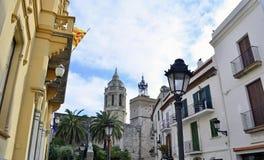 Προσόψεις κτηρίων Sitges, Καταλωνία, Ισπανία στοκ εικόνα με δικαίωμα ελεύθερης χρήσης