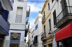 Προσόψεις κτηρίων Sitges, Καταλωνία, Ισπανία στοκ εικόνα