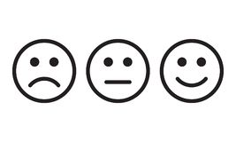 Προσώπου χαμόγελου διανυσματικά σημάδια άποψης εικονιδίων θετικά, αρνητικά ουδέτερα Στοκ Εικόνα
