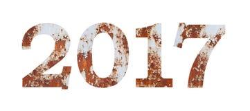 Προσδιορισμός αριθμού του ημερολογιακού έτους 2017, μέταλλο σκουριασμένο Στοκ Φωτογραφία