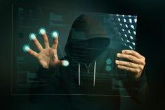 Προσδιορισμός app δακτυλικών αποτυπωμάτων στο φουτουριστικό υπολογιστή ταμπλετών dev Στοκ εικόνα με δικαίωμα ελεύθερης χρήσης