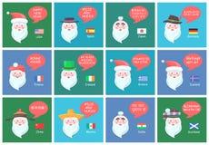 Προτάσεις Santa από τα διαφορετικά εμβλήματα χωρών διανυσματική απεικόνιση