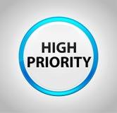 Προτεραιότητα γύρω από το μπλε κουμπί ώθησης ελεύθερη απεικόνιση δικαιώματος