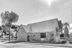 Προτεσταντική Εκκλησία αφρικανολλανδικής σε Fraserburg στο βόρειο ακρωτήριο μονοχρωματικός στοκ εικόνα με δικαίωμα ελεύθερης χρήσης