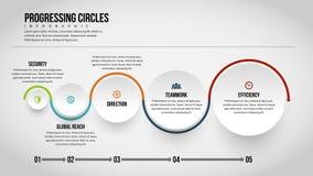 Προχωρώντας κύκλοι Infographic Στοκ εικόνα με δικαίωμα ελεύθερης χρήσης