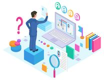 Προϊστάμενος και απασχόληση μέσω της σε απευθείας σύνδεση αναζήτησης Διαδικτύου διανυσματική απεικόνιση