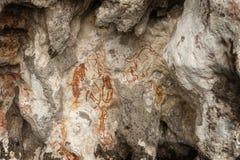 Προϊστορικά petroglyph έργα ζωγραφικής βράχου σε Raja Ampat, δυτική Παπούα, Ινδονησία Στοκ φωτογραφίες με δικαίωμα ελεύθερης χρήσης
