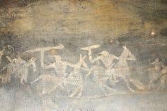 Προϊστορική ζωγραφική σπηλιών σε Bhimbetka - την Ινδία. Στοκ Φωτογραφία