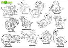 Προϊστορικοί δεινόσαυροι κινούμενων σχεδίων, χρωματίζοντας βιβλίο, σύνολο εικόνων διανυσματική απεικόνιση