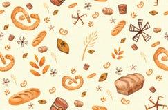 Προϊόντα αρτοποιίας, τυπωμένη ύλη ψησίματος Άνευ ραφής σχέδιο ζύμης Χαριτωμένο υπόβαθρο κουζινών διανυσματική απεικόνιση