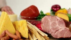 Προϊόντα για το μαγείρεμα των υγιών τροφίμων απόθεμα βίντεο