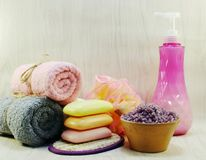 Προϊόντα λουτρών κρέμας σαπουνιών και ντους σαμπουάν Στοκ Εικόνες