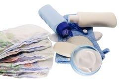 Προϊόντα λουτρών παιδιών και στοιχεία υγιεινής Στοκ Εικόνα
