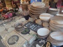Προϊόντα που γίνονται από bulrush και το μπαμπού Στοκ Φωτογραφίες