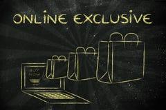 Προϊόντα που πωλούνται αποκλειστικά on-line (απεικόνιση του ερχόμενου OU τσαντών Στοκ Εικόνες