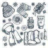 Προϊόντα πρώτης ανάγκης χειμώνα και φθινοπώρου, διανυσματική απεικόνιση σκίτσων Ιματισμός μόδας, στοιχεία σχεδίου εξαρτημάτων πτώ απεικόνιση αποθεμάτων