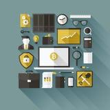 Προϊόντα πρώτης ανάγκης Bitcoin. Επίπεδα διανυσματικά στοιχεία σχεδίου Στοκ εικόνες με δικαίωμα ελεύθερης χρήσης