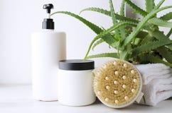 Προϊόντα ως σαμπουάν, βάλσαμο τρίχας, βούρτσα σωμάτων για τη λήψη ενός ντους, aloe Βέρα στο υπόβαθρο Επεξεργασίες ομορφιάς στοκ εικόνα