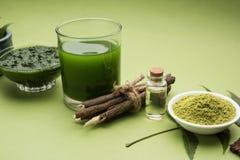 Προϊόντα Ayurvedic neem όπως την κόλλα, σκόνη, πετρέλαιο, χυμός, προσοχή δοντιών στοκ εικόνες