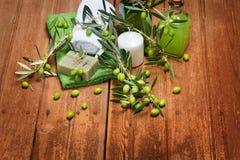 Προϊόντα Natural spa οργανικά ελιών Στοκ εικόνες με δικαίωμα ελεύθερης χρήσης