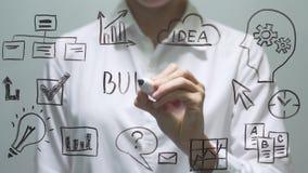 ΠΡΟΫΠΟΛΟΓΙΣΜΟΣ γραψίματος γυναικών στη διαφανή οθόνη Η επιχειρηματίας γράφει εν πλω απόθεμα βίντεο