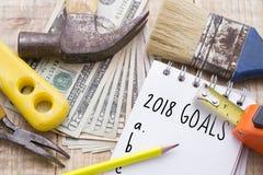 Προϋπολογισμός για να κάνει τις εσωτερικές επισκευές το 2018 Στοκ Εικόνα