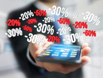 Προώθηση 20% 30% και 50% πωλήσεων που πετά πέρα από μια διεπαφή - Shopp Στοκ Εικόνα
