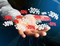 Προώθηση 20% 30% και 50% πωλήσεων που πετά πέρα από μια διεπαφή - Shopp Στοκ Φωτογραφία