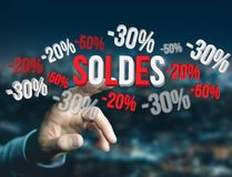 Προώθηση 20% 30% και 50% πωλήσεων που πετά πέρα από μια διεπαφή - Shopp Στοκ Εικόνες