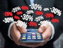 Προώθηση 20% 30% και 50% πωλήσεων που πετά πέρα από μια διεπαφή - Shopp Στοκ φωτογραφία με δικαίωμα ελεύθερης χρήσης