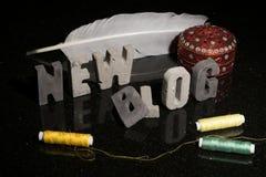 Προώθηση μιας νέου μόδας ή ενός σχεδίου ή ράψιμο blog blog Στοκ Φωτογραφία