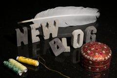 Προώθηση μιας νέου μόδας ή ενός σχεδίου ή ράψιμο blog blog Στοκ Εικόνες