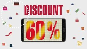 Προώθηση της πώλησης, έκπτωση 60%, αποτελεσματικός συναγερμός πώλησης ελεύθερη απεικόνιση δικαιώματος