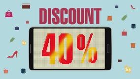 Προώθηση της πώλησης, έκπτωση 40%, αποτελεσματικός συναγερμός πώλησης version2 διανυσματική απεικόνιση