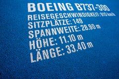 Προδιαγραφές του Boeing B737-300 Στοκ Φωτογραφίες