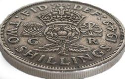 Προ νόμισμα δύο σελλινιών Decimalisation αγγλικό Στοκ φωτογραφίες με δικαίωμα ελεύθερης χρήσης