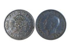 Προ νόμισμα δύο σελλινιών Decimalisation αγγλικό Στοκ φωτογραφία με δικαίωμα ελεύθερης χρήσης