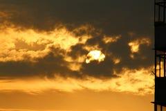 Πρωί, ανατολή, ήλιος, οικοδόμηση Στοκ Εικόνες
