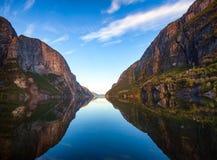 Πρωί σε Lysefjord Forsand Rogaland Νορβηγία Σκανδιναβία στοκ εικόνες με δικαίωμα ελεύθερης χρήσης