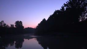 Πρωί στον ποταμό στην Ιταλία, μεγάλος ήχος της πιό μακροχρόνιας έκδοσης πουλιών απόθεμα βίντεο
